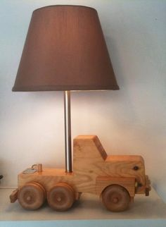 upcycled lamp from vintage wood toy