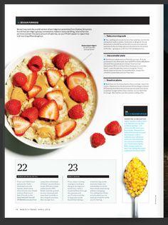 Magazine Layout Design, Mens Fitness, Editorial, Snacks, Marketing, Vegetables, Food, Appetizers, Essen