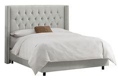 Ashling Wingback Bed, Velvet Gray on OneKingsLane.com