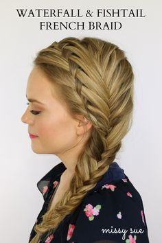 Waterfall & Fishtail French Braid - Anyone wanna sit and let me braid their hair? French Braid Hairstyles, Pretty Hairstyles, French Braids, French Fishtail, Wedding Hairstyles, How To French Braid, Ladies Hairstyles, Homecoming Hairstyles, Bun Hairstyles