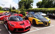 Scarica sfondi Ferrari de laferrari, Bugatti Veyron, Ferrari F430, auto sportive, tuning, Oakley Design