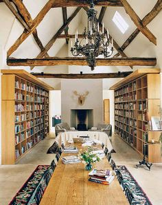 Not the seating arrangement in front of the fireplace but the beams and chandelier and bookcases.
