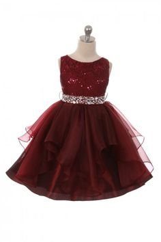 ce9a633ede1 Burgundy Embroidered Sequin Stretch Dress. Flower Girl ...