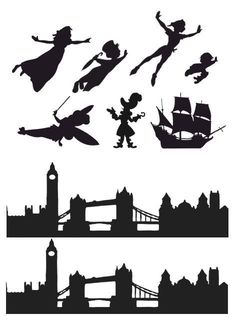Peter Pan, Wendy, London Skyline Silhouette Edible Icing Decor for Themed Cake - Diy Best Tattoo ideas Fête Peter Pan, Disney Peter Pan, Peter Pan Cakes, Peter Pan Party, Peter Pan Shadow, Peter Pan Silhouette, Silhouette Art, London Skyline Silhouette, Peter Pan Dekoration