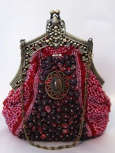 Burgundy Victorian Style Fully Beaded Crystal Purse Evening Bag- although it's brand new, love the vintage look about it