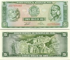 Peru 5 Soles de Oro 1974  Obverse: Artifacts; Inca Pachacutec; Reverse: Fortress - Fortaleza de Sacsahuaman.