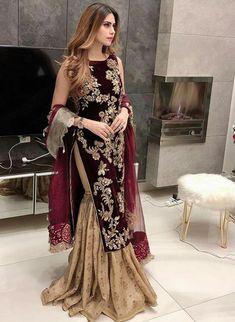 Colour: Saffron Yellow and Bougainvillea Pink Pakistani Formal Dresses, Pakistani Wedding Outfits, Pakistani Dress Design, Pakistani Bridal, Velvet Suit Design, Velvet Dress Designs, Stylish Dress Designs, Stylish Dresses, Maroon Velvet Dress