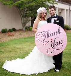 Wedding Personalized Custom Thank You Parasol Colored