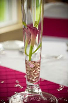 Pink Flower in Vase Wedding Table Centerpiece and Decorations