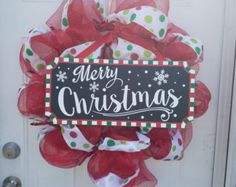 Green and red deco mesh Holiday wreath by SOLODesignsbyLeila