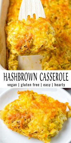 Hashbrown Casserole [vegan] – Contentedness Cooking This Hashbrown Casserole is creamy, cheesy, satisfying and no one would ever tell it is entirely vegan. Tastes better than the real deal and so easy to make. Try it and wow even the pickiest eaters. Vegan Dinner Recipes, Vegan Breakfast Recipes, Whole Food Recipes, Vegetarian Recipes, Cooking Recipes, Healthy Recipes, Vegetarian Diets, Easy Vegan Dinner, Best Vegan Recipes