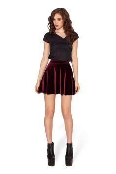Velvet Mulled Wine Skater Skirt by Black Milk Clothing