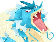 Gyarados designed by Melanie Matthews. Connect with them on Dribbble; Water Type Pokemon, Sonic The Hedgehog, Design Art, Illustrations, Fictional Characters, Logos, Illustration, Logo, Fantasy Characters