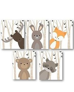 Boy Nursery Art, Woodland Nursery Animals, Baby Room Decor, Set of 5 PRINTS ONLY, Frames or Mats are NOT Included. Must be Framed by you to be hung.