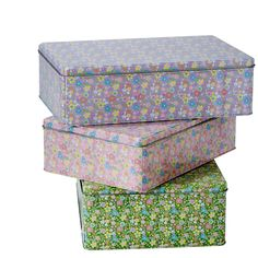 Metal Storage Box with Assorted Flower Print - Set of 3