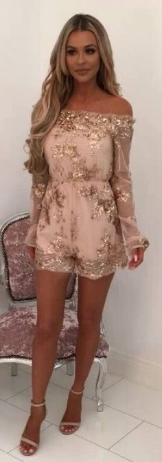 #winter #outfits brown floral off shoulder long-sleeved romper