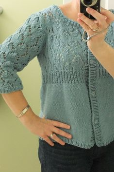 Here is a mini lesson on how understanding the relation between yo's and decreases that match it. From reading posts from folks running into trouble while working armhole shaping within the lace pattern, I think this may help. Ladies Cardigan Knitting Patterns, Knit Cardigan Pattern, Knitting Patterns Free, Knit Patterns, Free Pattern, Baby Cardigan, Baby Patterns, Summer Knitting, Easy Knitting