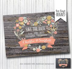Printable Rustic Save the Date Card Printable by BonTempsBeignet