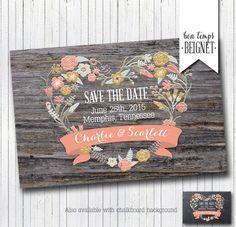 Printable Rustic Save the Date Card Printable by BonTempsBeignet