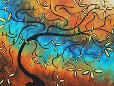 Abstract Tree Paintings | Abstract Bird Painting Original Art Madart Tree House Painting