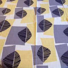 VTG retro fabric material 50s 60s graphic abstract leaves & blocks mid century