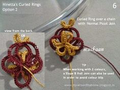 muskaan's T*I*P*S: Tatting Tutorial : Curled Ring Options.... Option 2 front & back views.