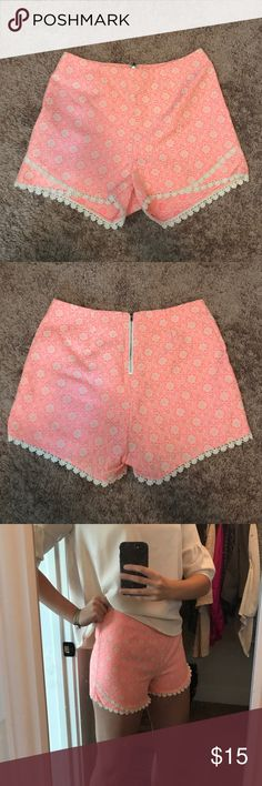 NWOT printed lace shorts absolutely adorable pink and ivory print shorts with lace detailing. high rise. never worn! zipper back. Soieblu Shorts
