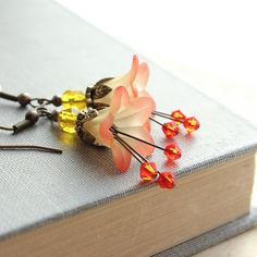 Lucite Flower Earrings Orange Dangle Sunshine Yellow Spring Woodland Pixie Fairie Faerie Nature Inspired Jewellery