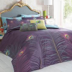 Purple 'Peacock' bedding set - Duvet covers & pillow cases - Bedding - Home & furniture -