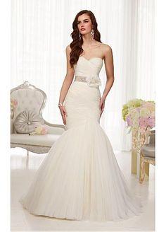 $250.57 Elegant Organza Sweetheart Neckline Natural Waistline Mermaid Wedding Dress