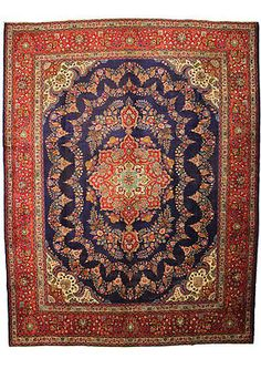 Antique navy blue Persian rug - large wool rug from Tabriz