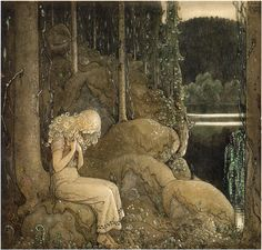 """ En riddare red fram, prinsessa i skogen"", from ""Bland Tomtar Och Troll 9"" (1915, by Åhlén & Åkerlunds Förlag, showcases Bauer's final suite of colour and monotone illustrations for this Swedish Christmas annual), illustrated by John Bauer"