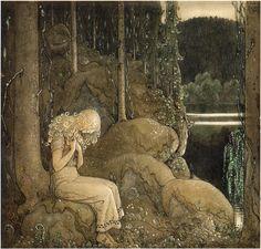 """OSKULDENS VANDRING av Helena Nyblom. (Bland tomtar och troll 1912). Historien handlar om den lilla oskuldsfulla prinsessan Bellas vandring i storskogen. Där möter hon bl.a. Bamse Brunbjörn och den gamle örnen. Till sist kommer den lilla prinsessan hem till sin far och mor, Kungen och Drottningen: """"Ni får inte gräla på mig för jag har haft så förskräckligt roligt!"""""""