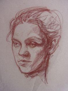 Portrait mit Kreide  mit Elina Deberdeeva