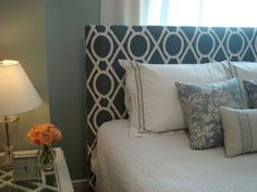 Love this pattern on the headboard
