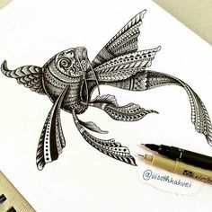 is it me or is this fish thing getting out of hand? Fish Zentangle, Tangle Art, Zentangles, Drawn Fish, Asian Tattoos, Doodle Inspiration, Doodle Designs, Beautiful Fish, Zen Doodle