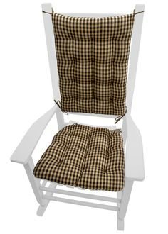 Checkers Black and Tan checkeredrocking chair cushions by Barnett Products are made in a traditional checked pattern with quarter inch checks. Made in USA   #checker #vintage