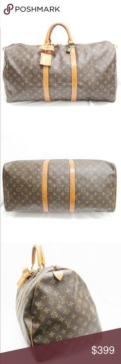 "Authentic Louis Vuitton Keepall 60 Travel This stylish travel duffel is crafted of classic Louis Vuitton monogram coated canvas.This bag features vachetta cowhide leather rolled and reinforced top handles and trim with polished brass hardware. The top zippers open to a spacious cocoa brown fabric interior. This is a an iconic piece of luggage, fabulous for overnight or weekend travel, with the special touch of luxury and style, from Louis Vuitton!23x13"". Leather aging throughout, dirt on…"