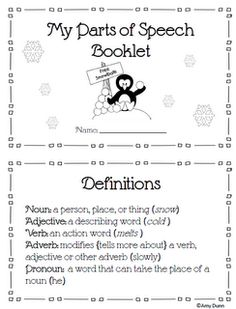 Free parts of speech review booklet for wintertime