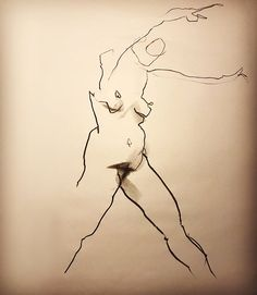"WINDY WENDY - 1 min position  Lefty Nude Art ""My art is drawn with the 'wrong' hand to let go and not get stuck in details and perfection. All positions are between 30 seconds and 5 minutes."" #croquis #kroki #nudeart #charcoal #art #lifedrawing #leftynudeart #malinhelgesson #misslefty"