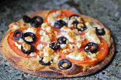 mediterranean hummus and feta pizza