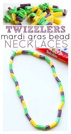 So easy! Bead with Twizzlers to make candy necklaces for parties or Mardi Gras. This would be a great party activity at a birthday party too!
