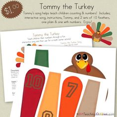 Tommy-the-Turkey-song.  What a fun circle time and math activity.  Love this!