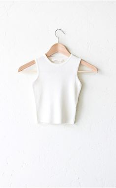 Ribbed Knit Sweater Crop Top - Ivory - NYCT