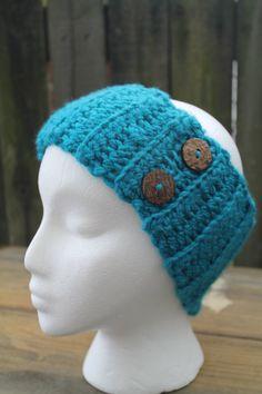 Teal Chunky Ribbed Crochet Headband Earwarmer With by HMRCreatives, $12.00