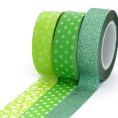 New to Hobbyhoppers on Etsy: Washi tape set Lime green flowers polka dots and glitter for craft snailmailing and scrapbooking or art journals (10.50 AUD)