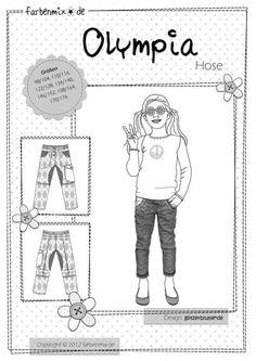OLYMPIA Sporty Pants Farbenmix German Pattern : Banberry Place, Kids Knit Fabrics::Euro Fabric::Indie Sewing Patterns::Novelty Woven Ribbon