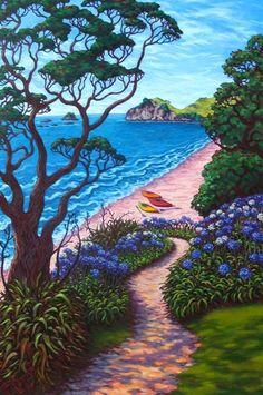 Rachel Olsen Artist - buy Original New Zealand Art New Zealand Beach, New Zealand Art, Nz Art, Art For Art Sake, Landscape Art, Landscape Photography, Amazing Street Art, Naive Art, Beach Art