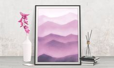 Breath new life into your rooms! Boho nursery decor - Shop printables by FraBorArt.  #walldecor #homedecor #interiordesign #painting #modernart #abstract #digital #digitalart #nordic #purple #violet #mountains #lines #downloadable #printable #affordable #etsy #art #fraborart