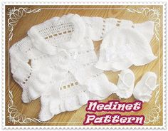 Crochet PATTERN crochet hat cardigan and shoes by NedinetPattern